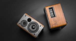 Edifier speakers wooden look